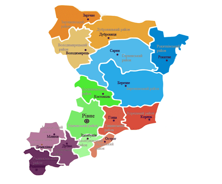 Карта ПТНЗ Рівненщини